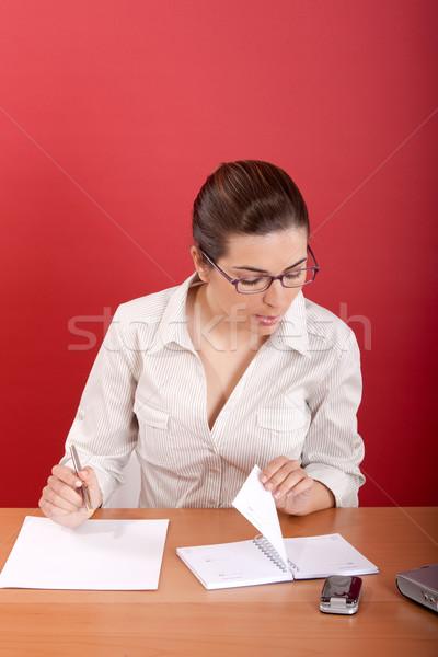 書類 肖像 小さな ビジネス女性 座って オフィス ストックフォト © iko