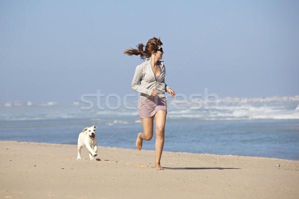 Kız sevimli köpek genç kadın çalışma oynama Stok fotoğraf © iko