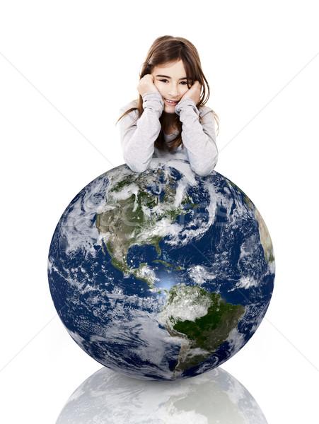 Meisje aarde meisje armen klein Stockfoto © iko