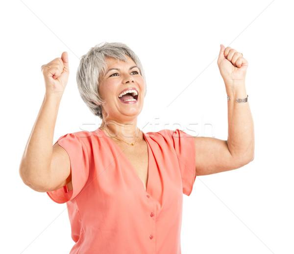 Gelukkig oude vrouw beide armen lucht geïsoleerd Stockfoto © iko