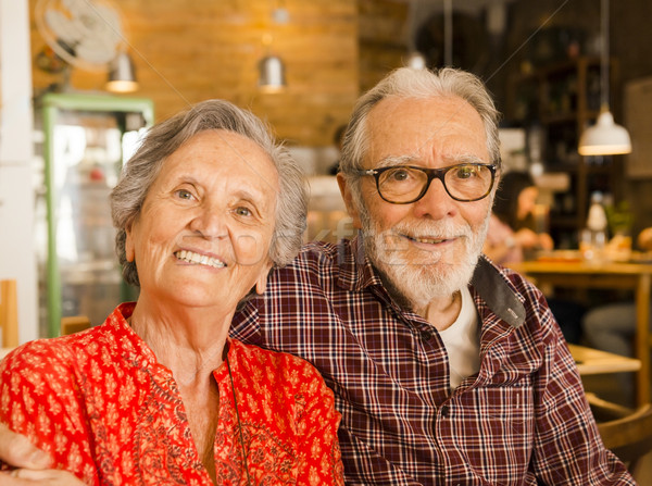 Old couple at the restaurant Stock photo © iko