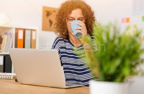 Trabalhar potável quente café Foto stock © iko