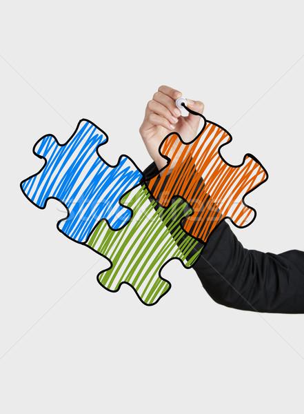 Photo stock: Dessin · puzzle · Homme · main · verre · bord