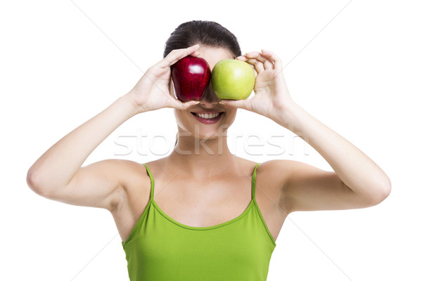 Mirando manzanas saludable mujer frescos Foto stock © iko