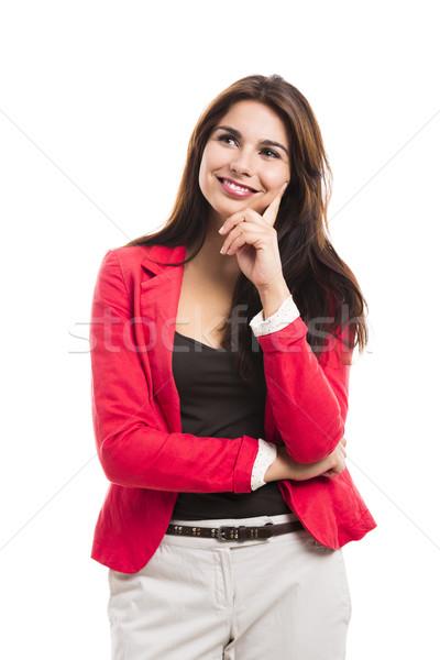 Femme d'affaires pense modernes souriant isolé blanche Photo stock © iko