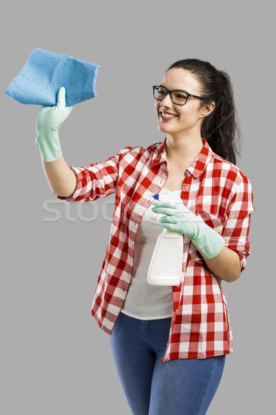 Huishouding mooie vrouw handschoenen schoonmaken spray Stockfoto © iko