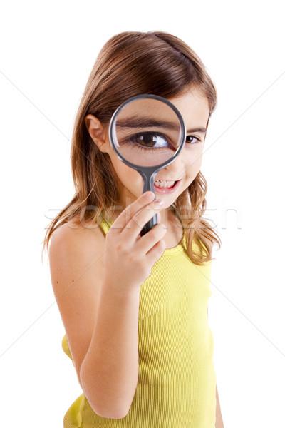 Olhando lupa belo little girl menina sorrir Foto stock © iko