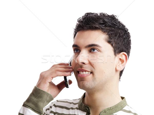 Telefoongesprek knap jonge man geïsoleerd witte Stockfoto © iko