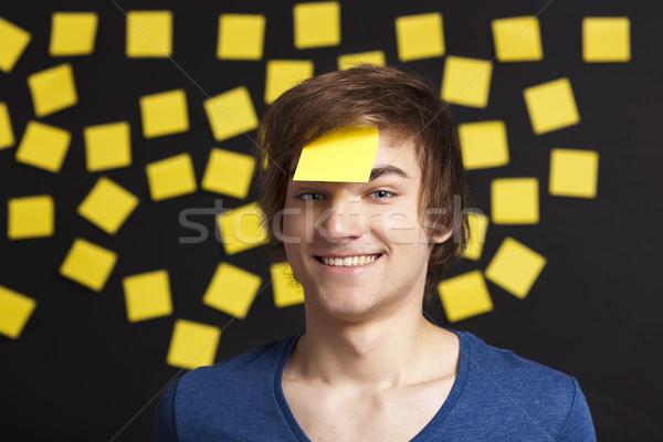 Foto stock: Necessidade · lembrete · feliz · estudante · cabeça · mais