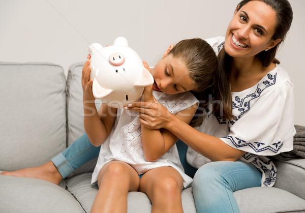 ストックフォト: 娘 · 貯蓄 · 母親 · 貯金 · 将来