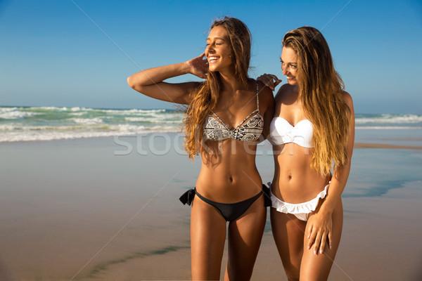 Amour plage belle filles été jour Photo stock © iko