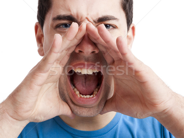 Yüksek sesle portre genç eller ağız Stok fotoğraf © iko