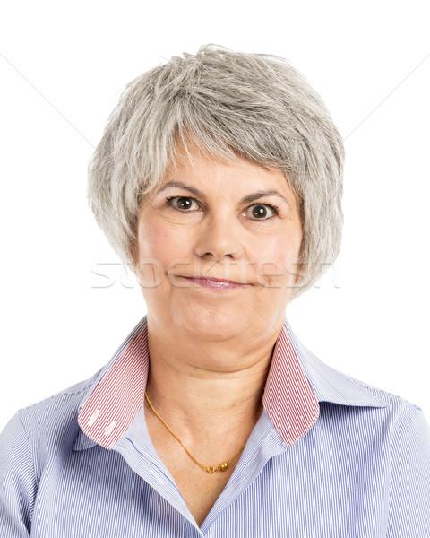 Nudny portret kobieta twarz kobiet Zdjęcia stock © iko