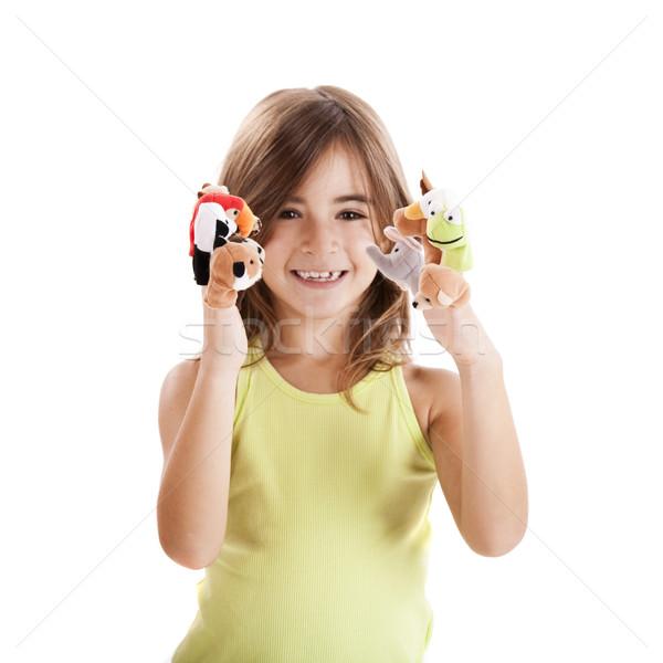 Foto d'archivio: Giocare · dito · cute · ragazza · felice · mano · bambino