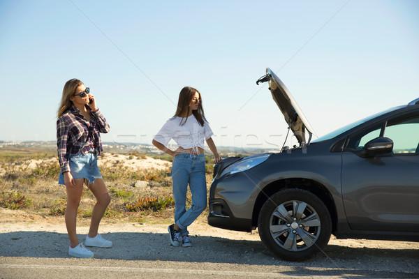 Photo stock: Filles · voiture · cassée · Homme · amis