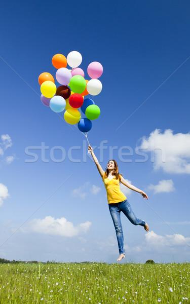Flying шаров счастливым красочный Сток-фото © iko