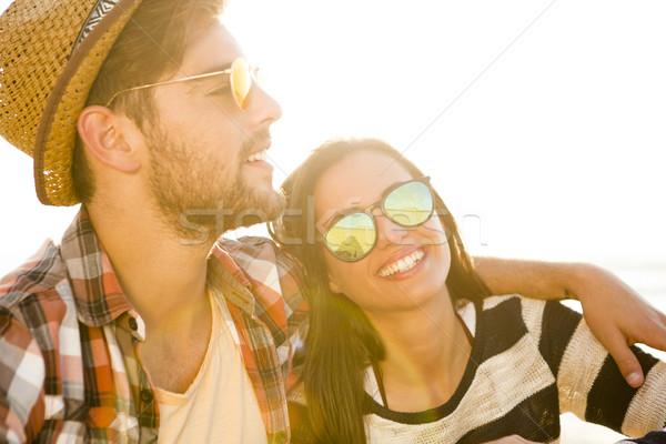 Strand voorjaar man gelukkig Stockfoto © iko