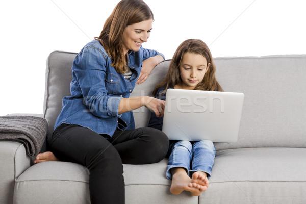 Mother teaching her little daughter Stock photo © iko