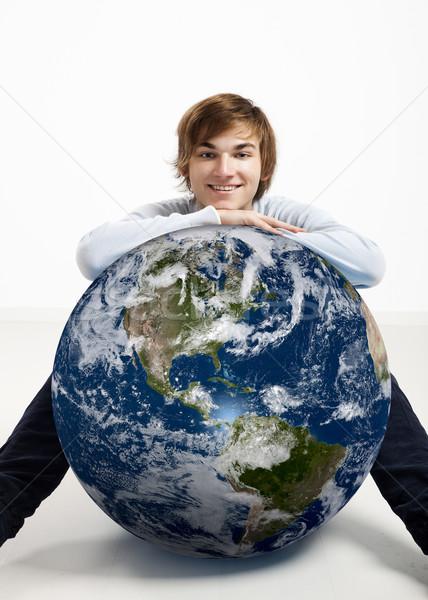 Stockfoto: Jonge · man · aarde · klein · aarde · wereldbol