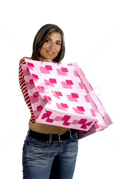 Vásárlás nő fehér fotó pénz papír Stock fotó © iko