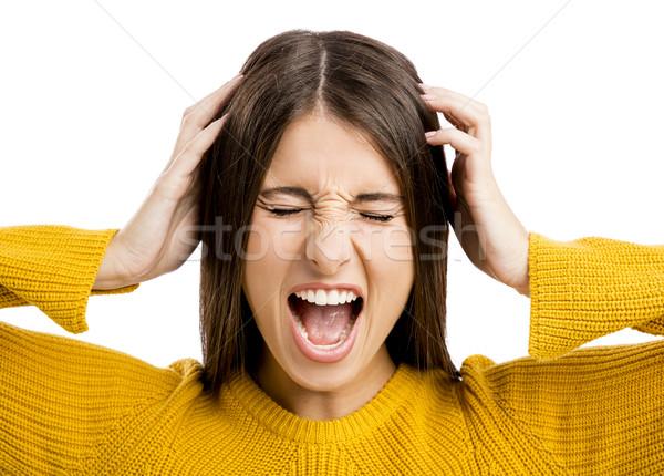 Kiabál portré hangsúlyos fiatal lány nő nők Stock fotó © iko