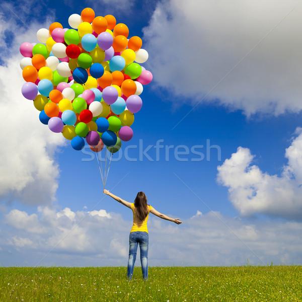 Mädchen farbenreich Ballons glücklich grünen Stock foto © iko