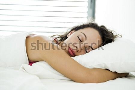 Faul Morgen schöne Frau Bett Frau Mädchen Stock foto © iko