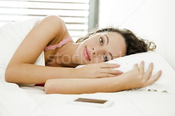 Pigro mattina bella donna letto donna ragazza Foto d'archivio © iko