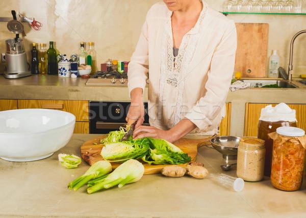 Savanyú káposzta megőrzött zöldségek káposzta fanyar üveg Stock fotó © iko