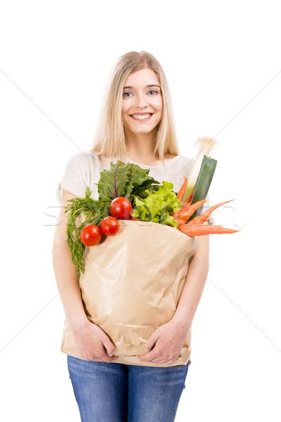 Güzel bir kadın sebze güzel sarışın kadın çanta Stok fotoğraf © iko