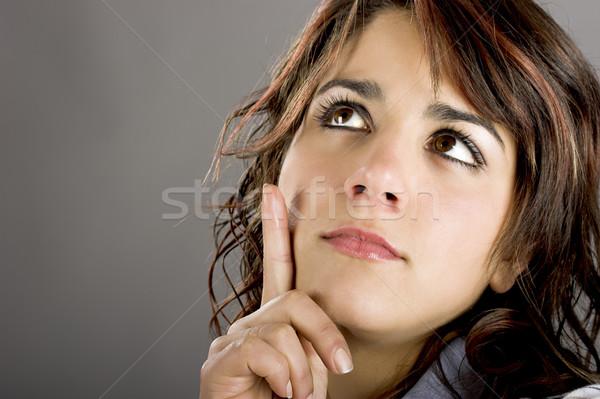 Stockfoto: Mooie · vrouw · denken · portret · mooie · jonge · aantrekkelijke · vrouw