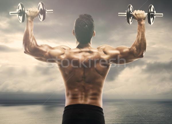 Photo stock: Muscle · homme · poids · extérieur · paysage