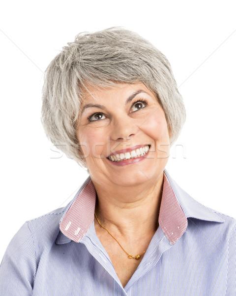Heureux pense portrait visage femmes Photo stock © iko
