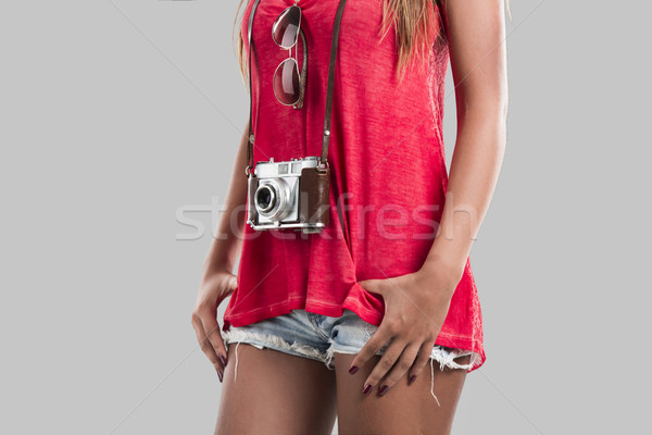 Woman with a old vintage camera Stock photo © iko