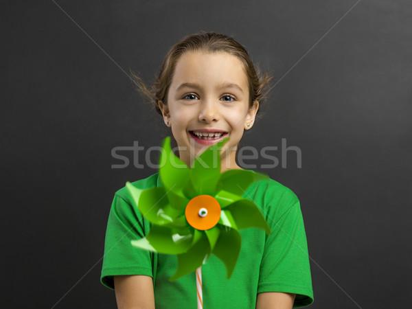 Meisje windmolen mooie glimlach kinderen Stockfoto © iko
