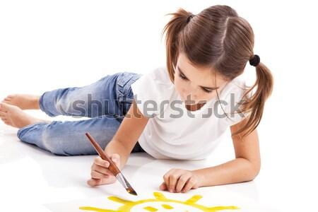 Schilderij gelukkig zon meisje vloer kind Stockfoto © iko