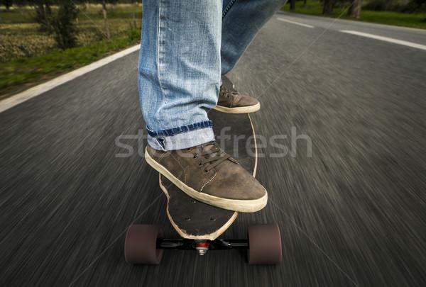 Stock fotó: Görkorcsolyázó · fiú · részlet · fiatalember · láb · lovaglás