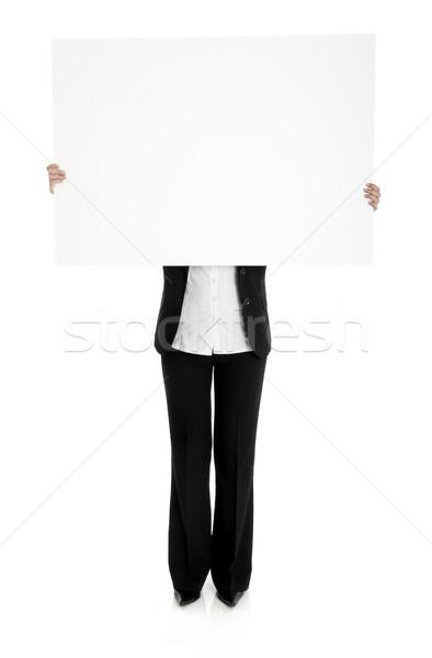 Stock fotó: Tart · óriásplakát · portré · nő · üzlet · kéz