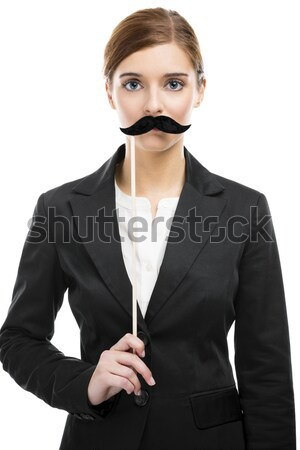 Beautiful woman with a moustache Stock photo © iko