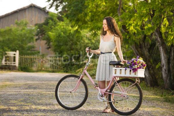 幸せな女の子 自転車 美しい 若い女性 フル ストックフォト © iko
