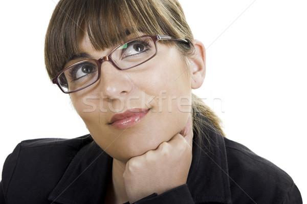 Bela mulher pensando óculos futuro mulher menina Foto stock © iko