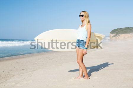 Stok fotoğraf: Sörfçü · kız · plaj · güzel · çalışma · sörf