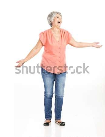 Stockfoto: Gelukkig · oude · vrouw · portret · beide · armen · Open