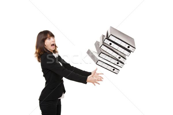 Stockfoto: Vallen · mappen · vrouw · kantoor · handen