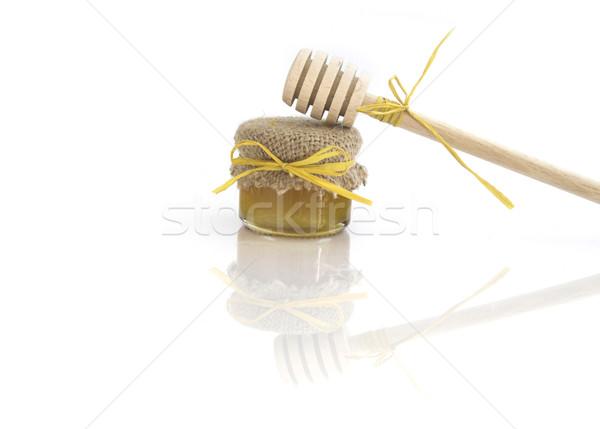 Stock foto: Holz · Honig · jar · Essen · Glas · Abendessen