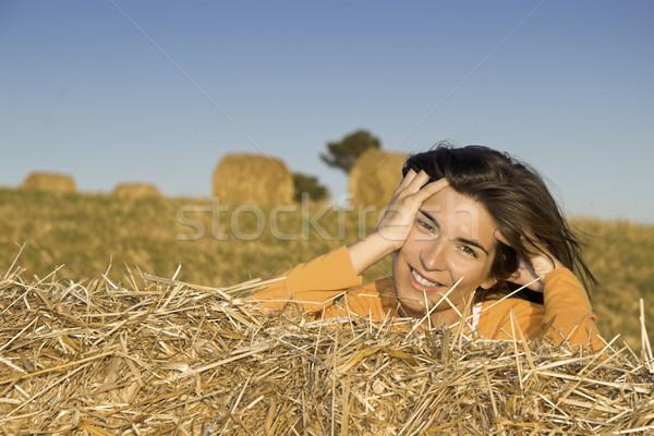красивая женщина области сено женщину небе девушки Сток-фото © iko
