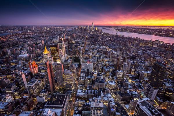 üst görmek New York vardiya bulanıklık Bina Stok fotoğraf © iko