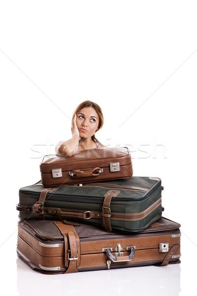 Düşünme güzel genç kadın arkasında bagaj Stok fotoğraf © iko