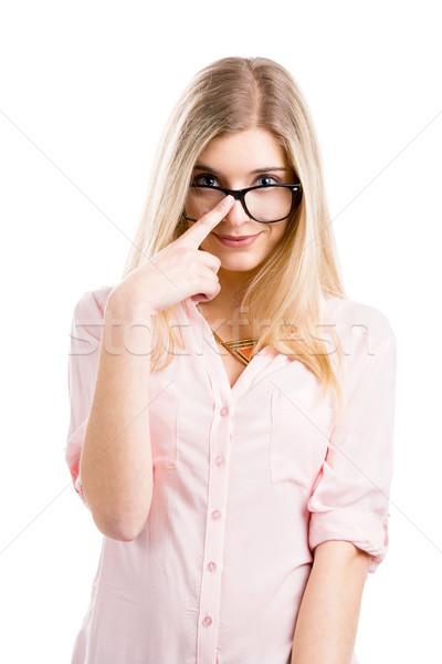 NERD девушки красивой улыбаясь очки Сток-фото © iko