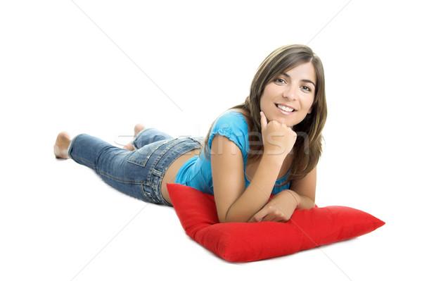 Zdjęcia stock: Piękna · kobieta · miękkie · poduszka · biały · kobieta · kobiet